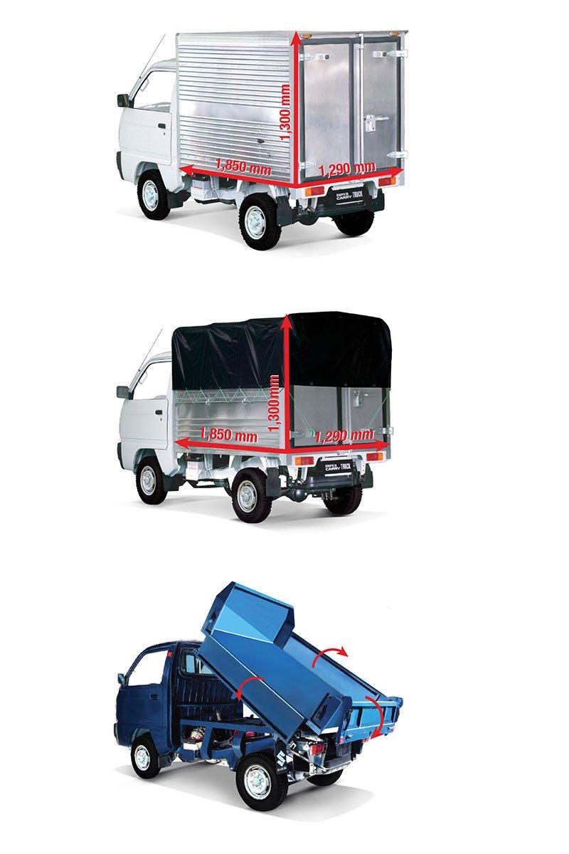 Khách hàng Suzuki Carry Truck Truck có nhiều lựa chọn thùng xe: thùng kín, mui bạt, thùng ben (theo thứ tự từ trên xuống).