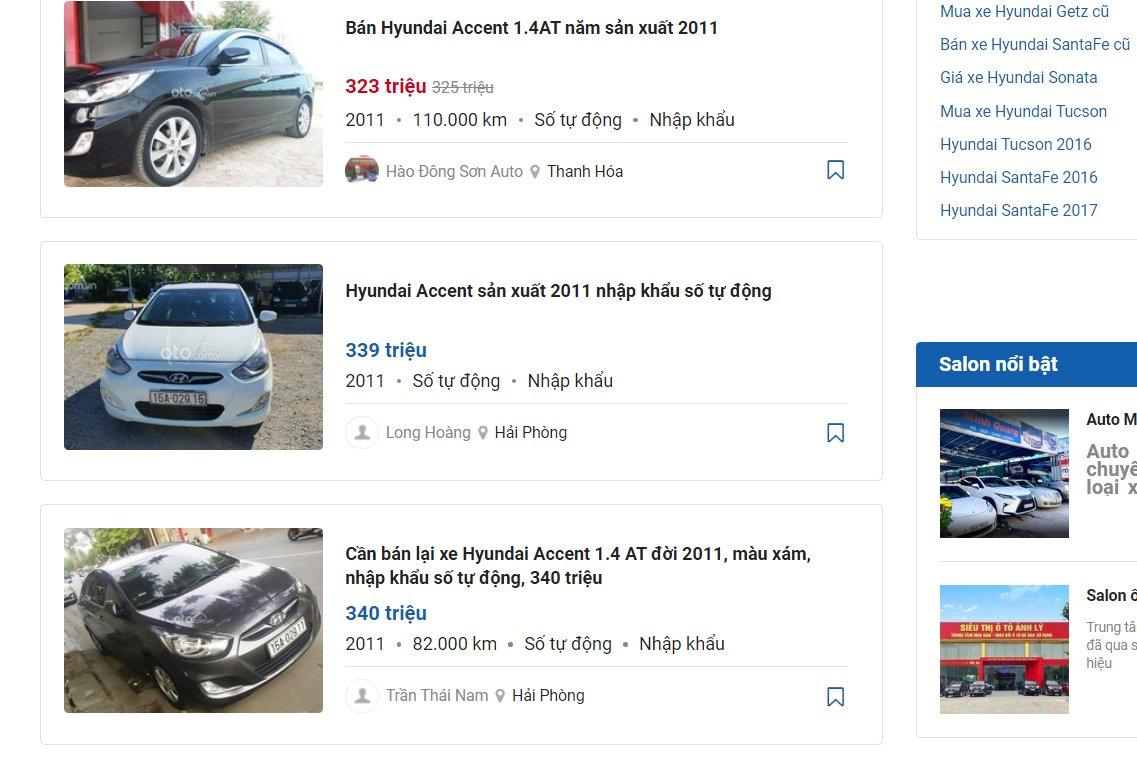 Sau 10 năm sử dụng, giá xe cũ của các dòng xe phổ thông dao động từ 300-400 triệu đồng.