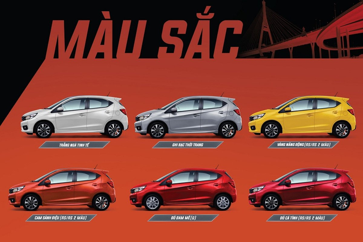 Các tùy chọn màu sắc xe Honda Brio.