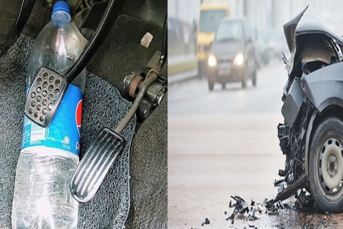 chai nước trên ô tô gây nguy hiểm