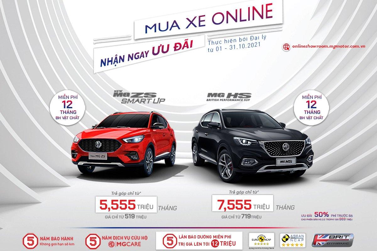MG Việt Nam tiếp tục ưu đãi dành cho khách mua xe Online trong tháng 10