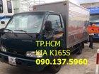 TP. HCM Thaco Kia K165S đời 2017, màu xanh lam, thùng kín tôn đen