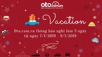 Oto.com.vn thông báo nghỉ làm từ ngày 07/01 - 09/01/2019