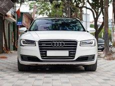 Bán Audi A8 V8 4.0L TFSI 2014 màu trắng, nội thất Nâu sang trọng, xe cam kết nguyên bản
