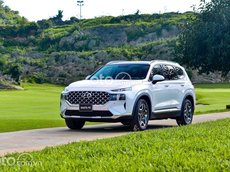 Bán ô tô Hyundai Santa Fe sản xuất 2021 máy 2.5 xăng cao cấp, màu trắng