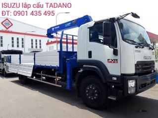Isuzu 7 tấn FVR900 thùng lửng lắp cẩu Tadano, giao xe ngay, giá tốt, hỗ trợ vay ngân hàng thủ tục nhanh gọn