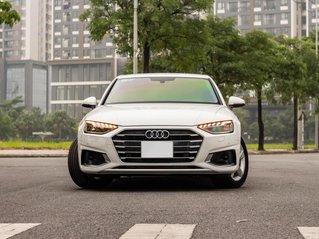 Bán Audi A4 40 TFSI model 2021 máy 2.0L Turbo, siêu lướt, xe màu trắng, nội thất nâu da bò sang trọng và đẳng cấp