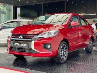 Bán xe 5 chỗ Attrage CVT 2022 màu đỏ, hỗ trợ thuế trước bạ và bộ phụ kiện giá trị