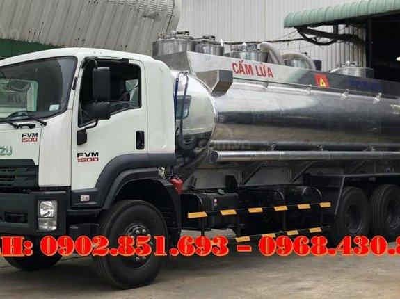 Bán xe bồn nhôm Isuzu 20 khối chở xăng dầu, xe bồn xăng dầu 20 khối Isuzu 3 chân, giá tốt