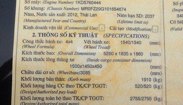 Gia đình bán xe Toyota Hilux 2012, nhập khẩu