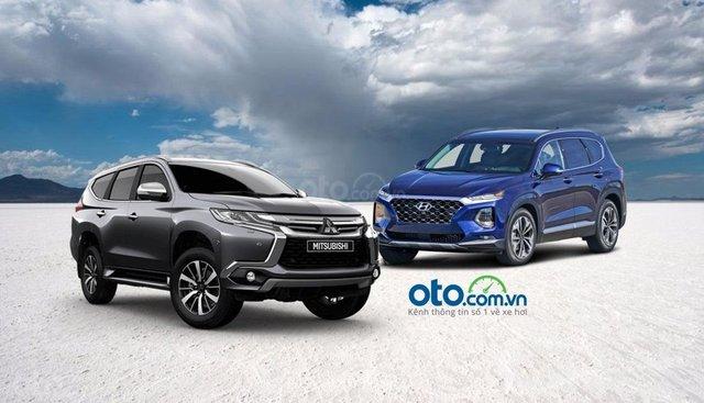 So sánh Hyundai SantaFe 2019 và Mitsubishi Pajero Sport 2019