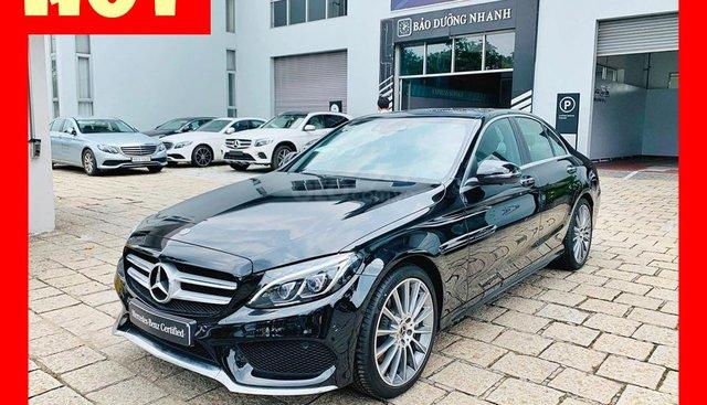Bán xe Mercedes C300 AMG màu đen như mới chính hãng 2018, bảo hành 3 năm. Trả trước 650 triệu nhận xe
