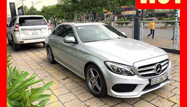 Bán xe Mercedes C300 bạc/đen 2015 cũ chính hãng còn rất mới và đẹp. Trả trước 450 triệu nhận xe ngay