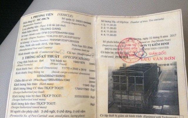 Phú Thọ bán xe tải Dongfeng Trường Giang 4 chân đời 2015 tải 17.9 tấn3