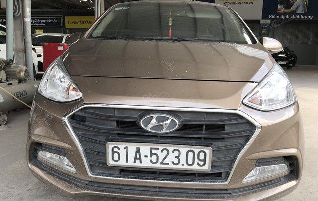 Bán Hyundai Grand i10 sedan 1.2MT màu nâu titan, số sàn, bản đủ, sản xuất 20187