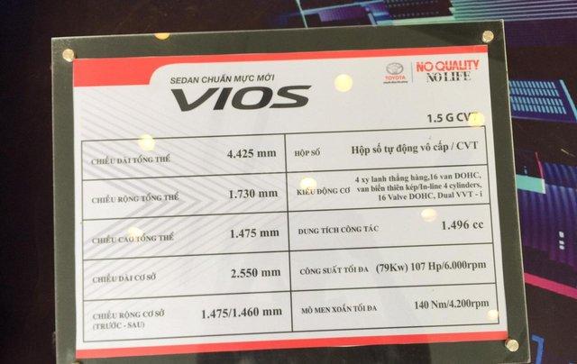 Giá xe Toyota Vios 1.5G 2019, giảm sập sàn, tặng bảo hiểm thân vỏ, hỗ trợ trả góp, chi tiết LH ngay 09788358503