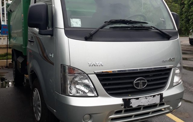 Xe chở rác Tata 990Kg thùng 4 khối máy dầu giá rẻ, hỗ trợ trả góp3
