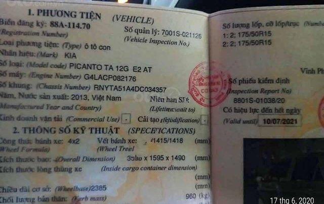 Cần bán xe Kia Picanto 1.25 AT đời 2013, màu bạc  2