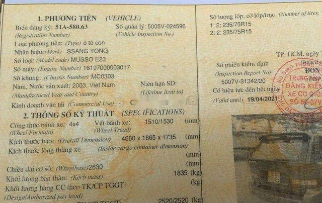 Cần bán xe Ssangyong Musso đời 2003, xe nhập4