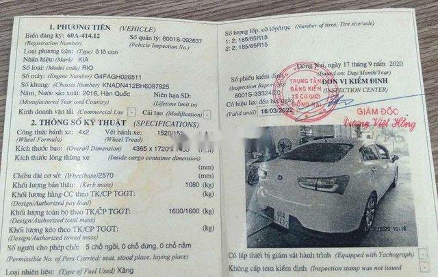 Cần bán lại xe Kia Rio đời 2016, màu trắng, nhập khẩu Hàn Quốc 10