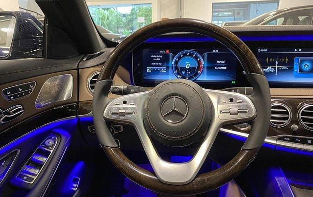 Bán xe Mercedes S450L màu xanh, nội thất nâu, đăng ký 2020, chạy 999 km, mới 99%, giá cực hợp lý5