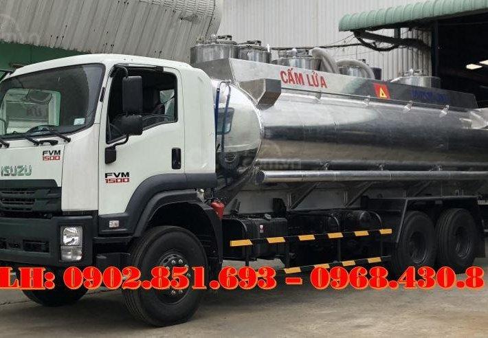 Bán xe bồn nhôm Isuzu 20 khối chở xăng dầu, xe bồn xăng dầu 20 khối Isuzu 3 chân, giá tốt0