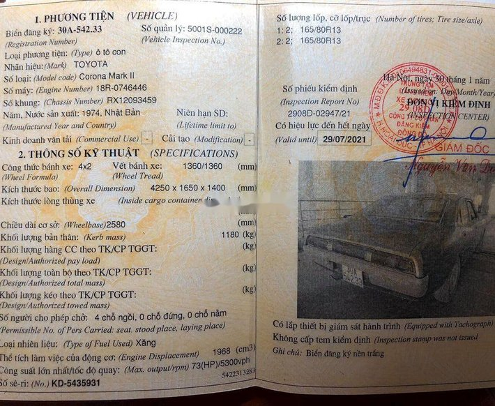 Cần bán gấp Toyota Mark II sản xuất 1974, màu tím, nhập khẩu chính chủ, giá tốt10