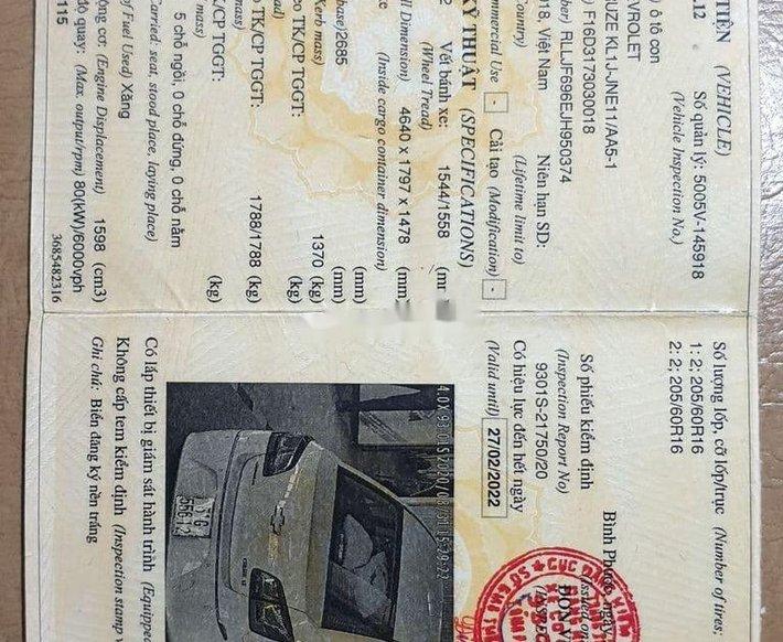 Bán Chevrolet Cruze 1.6LT sản xuất năm 20184