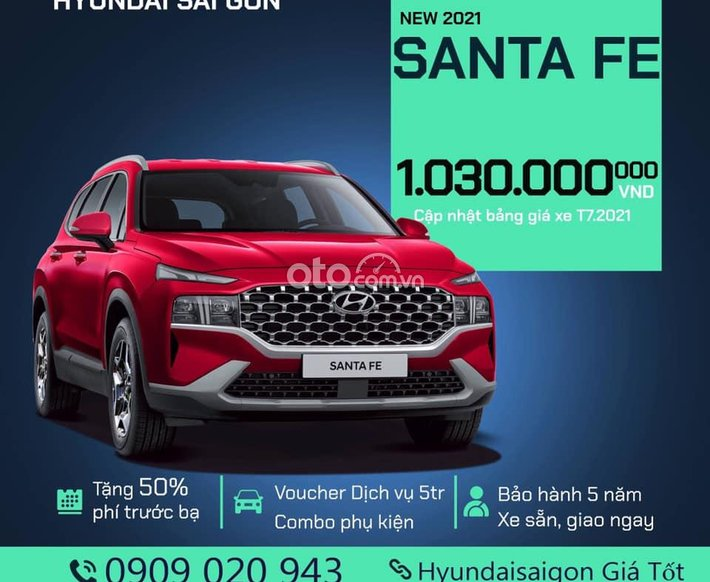 Bán ô tô Hyundai Santa Fe năm sản xuất 2021, màu đỏ0