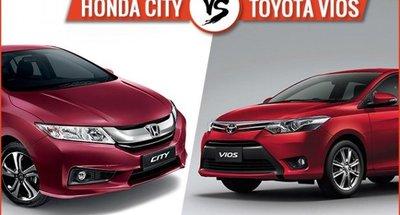 Honda City và Toyota Vios màu đỏ