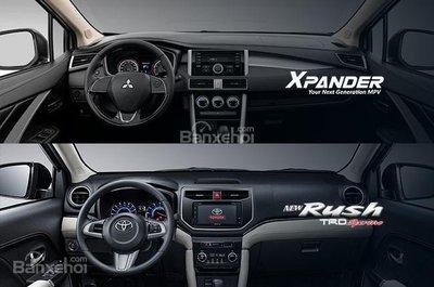 So sánh xe Mitsubishi Xpander 2018 và Toyota Rush 2018 về khoang nội thất a1