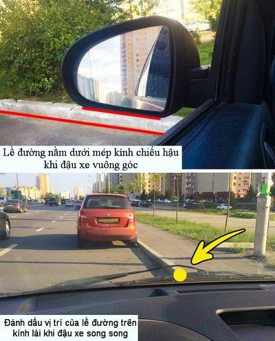 Nếu không thể căn lề cho đúng, hãy dùng mẹo đánh dấu trên kính lái hoặc mũi xe.