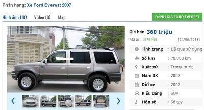 Chiếc xe 7 chỗ Ford Everest 2.5L – 4X2 MT được rao bán trên chợ xe hơi cũ