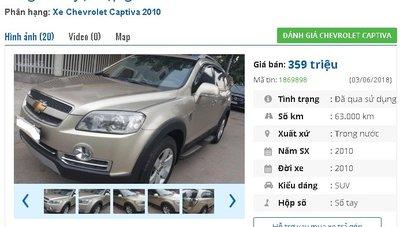 Chiếc xe Chevrolet Captiva  Maxx LT được rao bán trên chợ xe hơi cũ