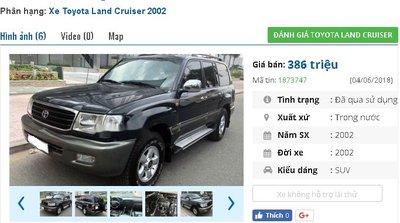 Chiếc xe Toyota Land Cruiser GX được rao bán trên chợ xe hơi cũ