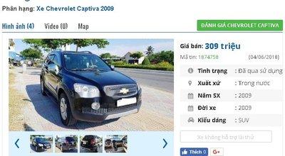 Chiếc xe Chevrolet Captiva được rao bán trên chợ xe hơi cũ