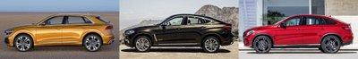 So sánh Audi Q8 2019, BMW X6 và Mercedes GLE Coupe về thiết kế thân xe .