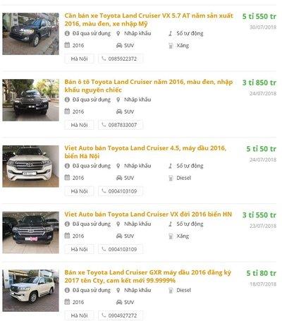 Giá xe Toyota Land Cruiser cũ ngang ngửa xe mới..