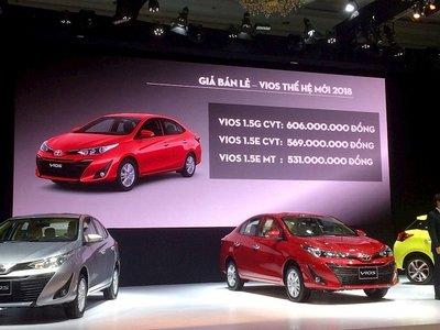 So sánh giá xe Toyota Vios mới và các đối thủ trong phân khúc sedan hạng B..