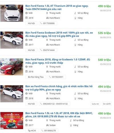 Giá Ford Fiesta 2018 rớt xuống chỉ còn 490 - 540 triệu đồng..