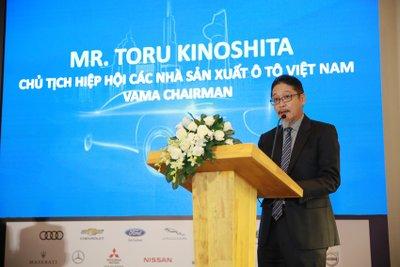 Ông Kinoshita phát biểu tại buổi họp báo công bố VMS 2018 1