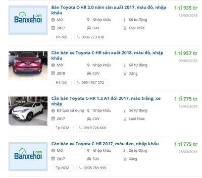 Toyota C-HR 2018 có giá khoảng 2 tỷ đồng tại Việt Nam...