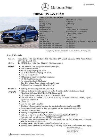 Thông số kỹ thuật Mercedes-Benz GLC200 2018 tại Việt Nam