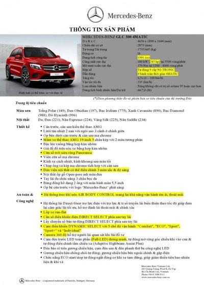 Giá xe Mercedes-Benz GLC300 a28