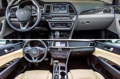 So sánh Kia Optima và Hyundai Sonata 2019 về chất lượng nội thất.