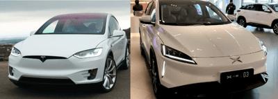 đầu xe của Xpeng G3 và Tesla Model X