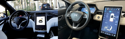 nội thất của Xpeng G3 và Tesla Model X