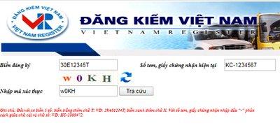 Giao diện tra cứu thông tin phạt nguội trên cổng thông tin trực tuyến của Cục đăng kiểm Việt Nam...