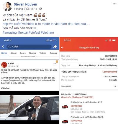 Steven Nguyen chia sẻ trên facebook về việc mua 36 xe VinFast