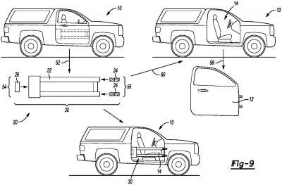 Phát minh mới của Ford là cửa ô tô 2 trong 1 có thể tháo rời